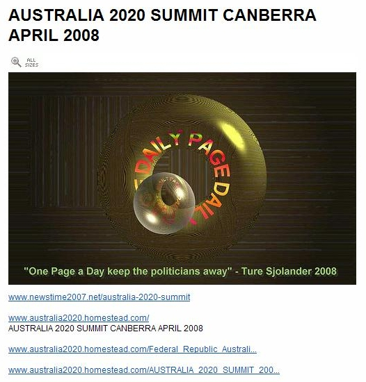 The Presidents Message to the Australia 2020 Summit Canberra April 2008